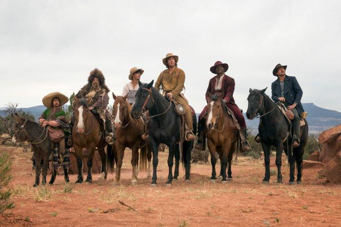 "Rob Schneider, Jorge Garcia, Taylor Lautner, Adam Sandler, Terry Crews, Luke Wilson in the Netflix original film ""The Ridiculous Six"". Photo Credit: Ursula Coyote/Netflix"