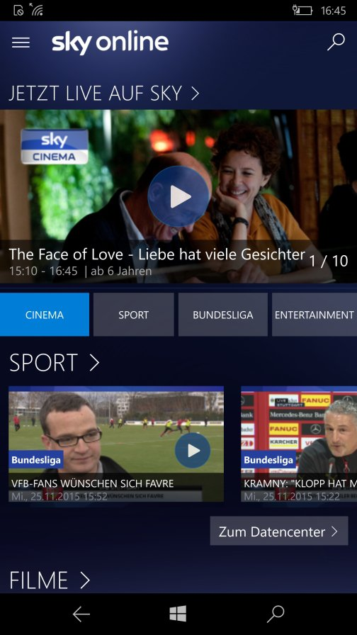Sky Go und Sky Online auf Windows 10 Mobile © Sky