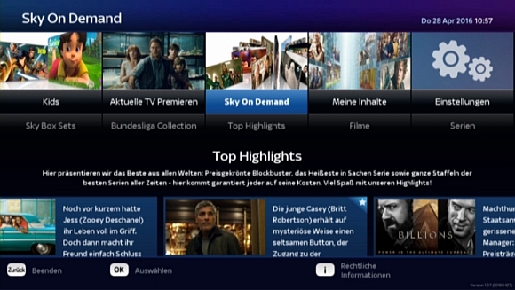 Sky On Demand auf EntertainTV © Sky