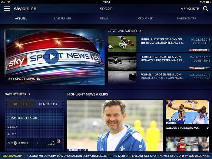 Neue Sky Online Supersport Tickets © Sky