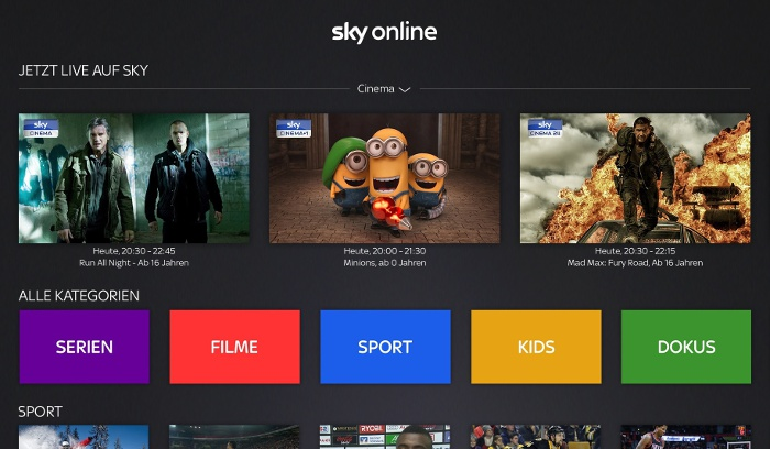 Sky Online auf dem Apple TV © Sky