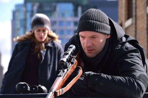 "THE STRAIN -- ""The Assassin"" -- Episode 210 Pictured: (l-r) Ruta Gedmintas as Dutch Velders, Corey Stoll as Ephraim Goodweather. CR: Michael Gibson/FX © Sky"