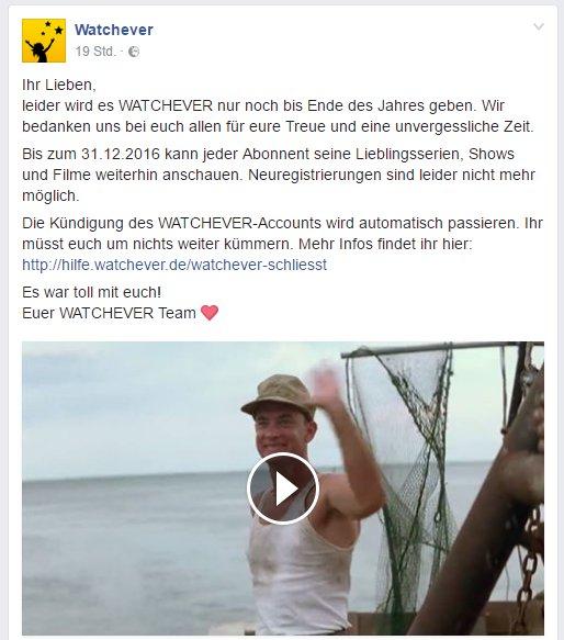 Watchever bedankt sich bei den treuen Kunden und verabschiedet sich von der Bildfläche. :( © couchmonauten.de / Facebook